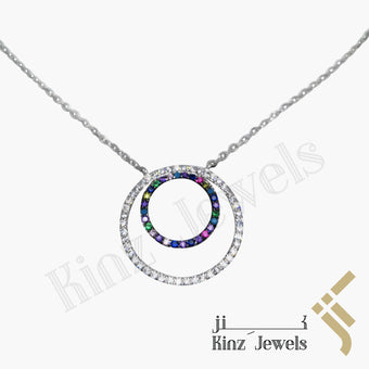kinzjewels - Sterling Silver Colorful Cubic Zirconia Two Circles Necklace