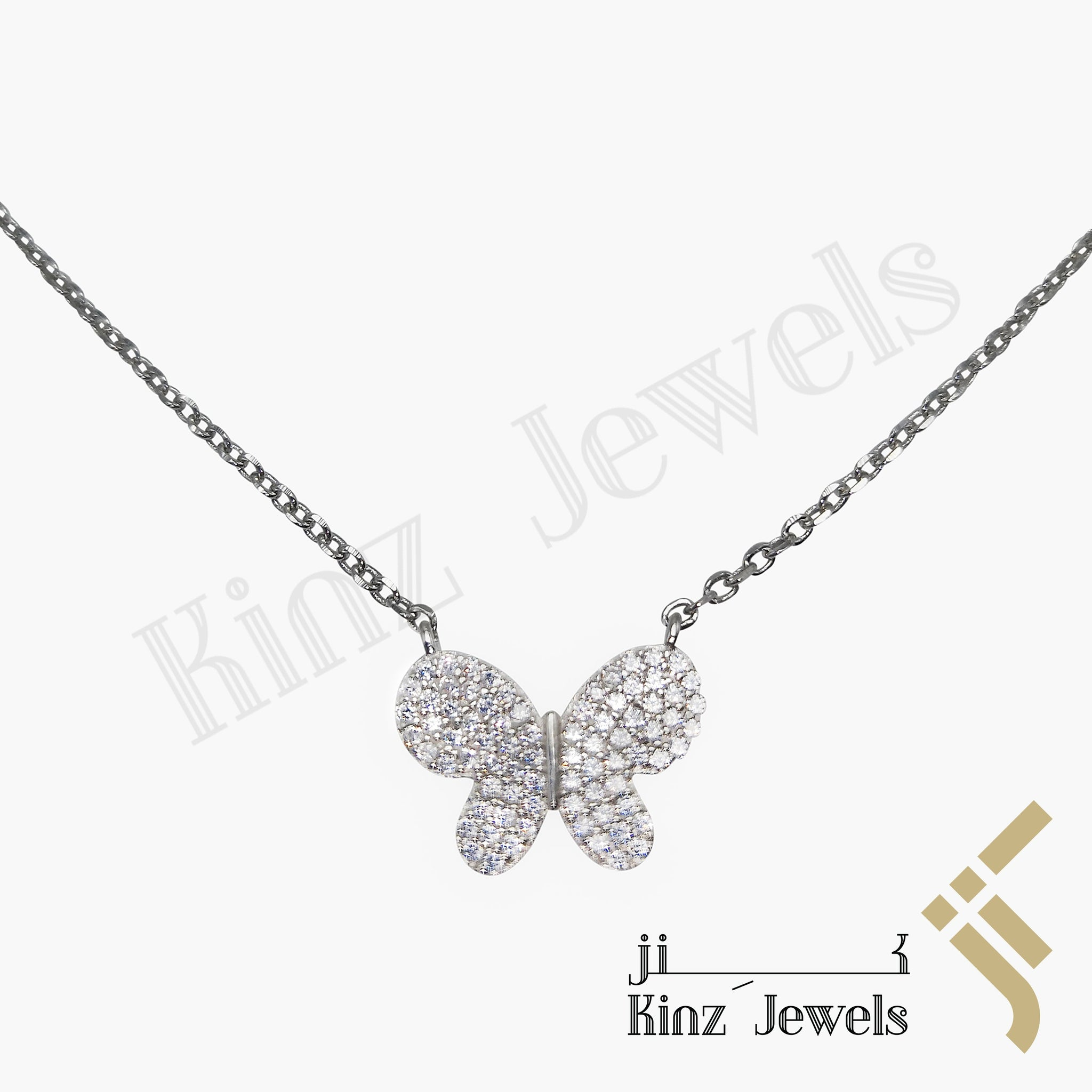 kinzjewels - Sterling Silver Butterfly Cubic Zirconia Necklace