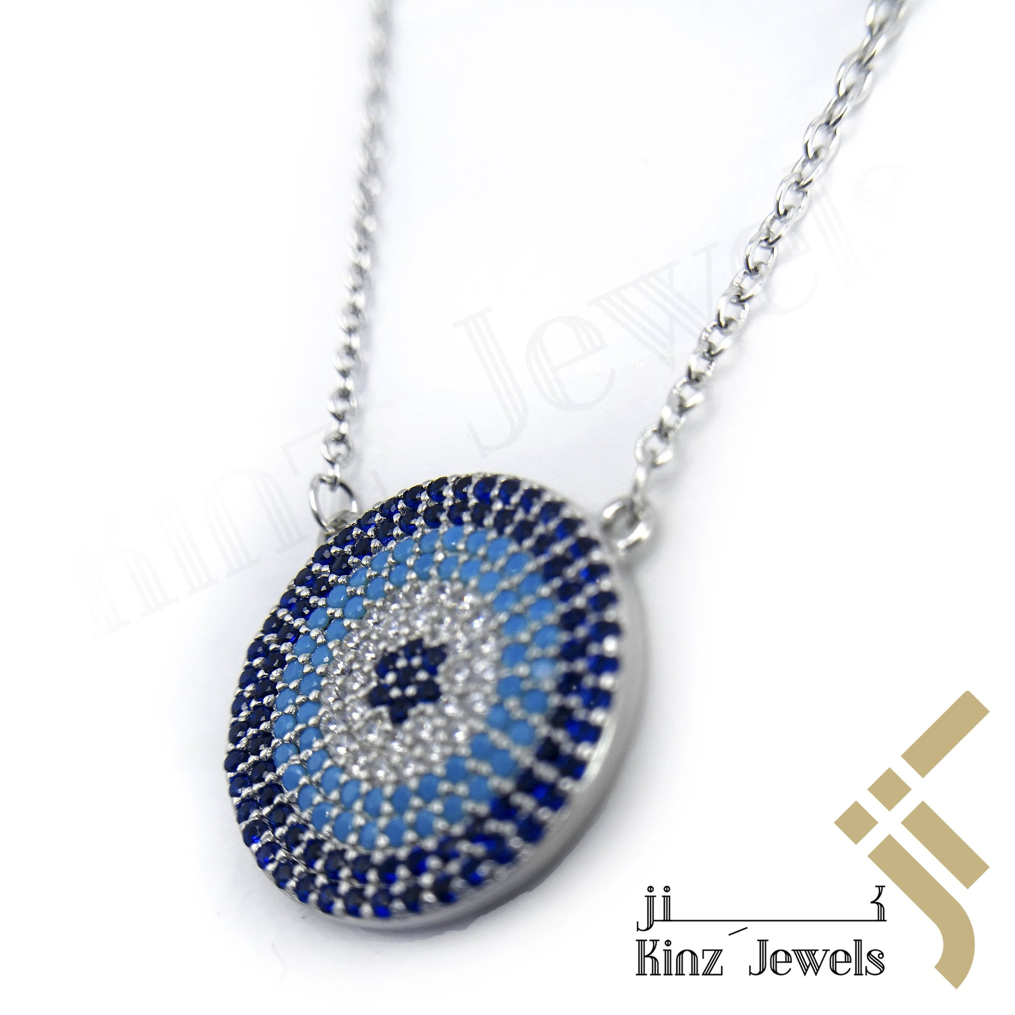 kinzjewels - Sterling Silver Blue Evil Eye Zircon Dark Blue, Turquoise, White Necklace