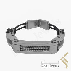 kinzjewels - Personalized High Quality Stainless Steel Carbon Fiber Edges Rubber Bracelet
