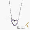 kinzjewels - Sterling Silver Purple White Heart Necklace