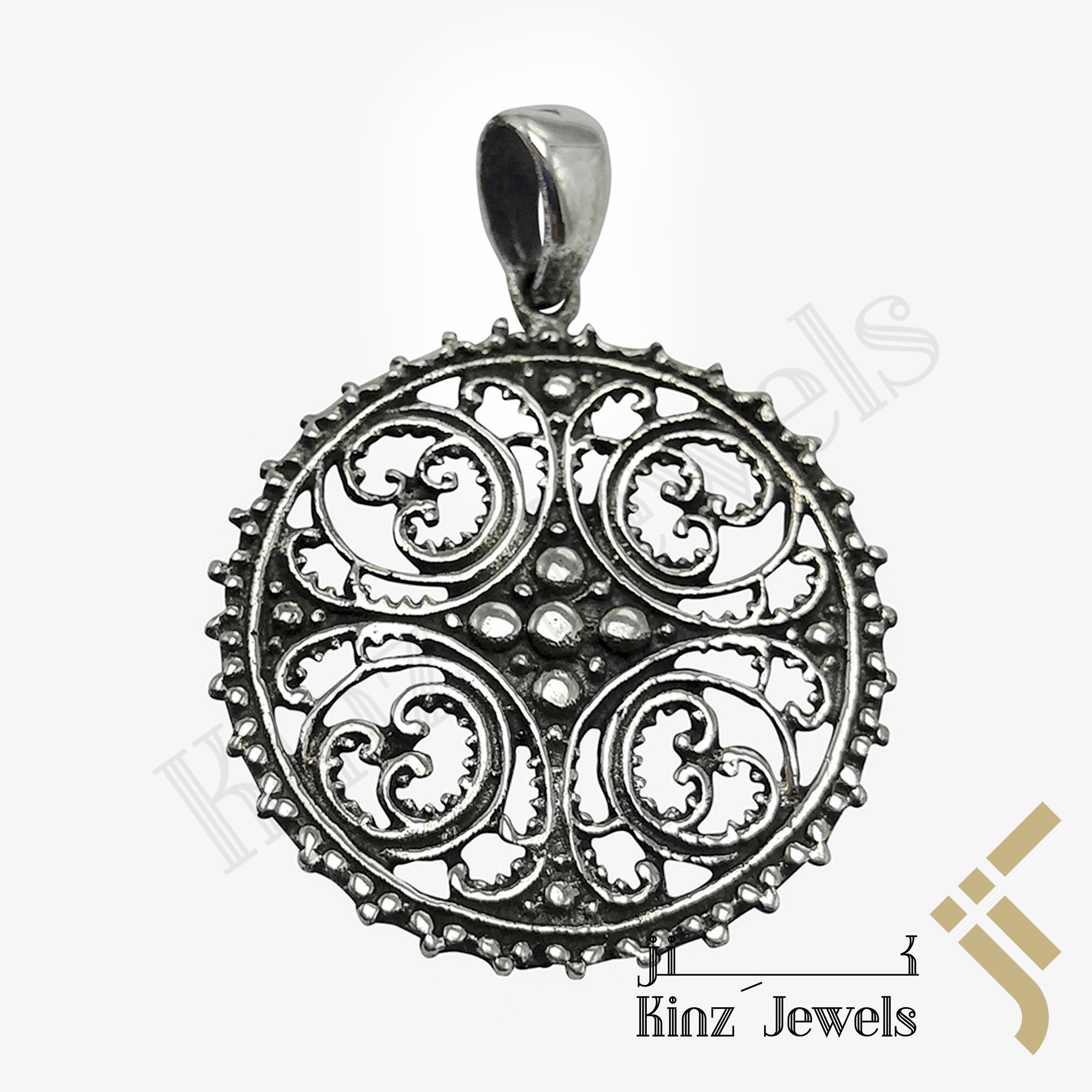 kinzjewels - Sterling Silver Antique Spiritual Pattern Pendant