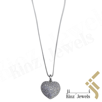 kinzjewels - Sterling Silver Heart Full Cubic Zirconia Necklace