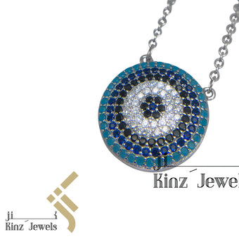 kinzjewels - Sterling Silver Blue Evil Eye Zircon Turquoise, Navy, Black, White Necklace