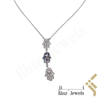 kinzjewels - Sterling Silver Three Hamsa Necklace