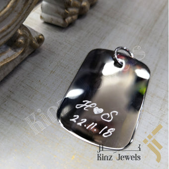 kinzjewels - Personalized Silver Tag Pendant Rhodium Vermeil