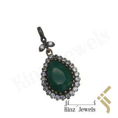 kinzjewels - Sterling Silver Hurrem Sultan Green Tear Drop Shape Gemstones Pendant
