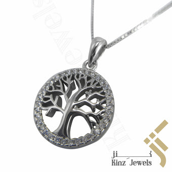 kinzjewels - Sterling Silver Tree of Life Cubic Zirconia Necklace