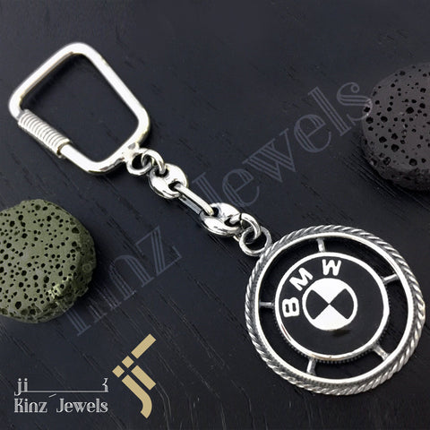 kinzjewels - High Quality BMW Sterling Silver Black Keychain