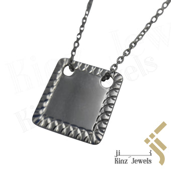 kinzjewels - Personalized High Quality Sterling Silver Square Necklace
