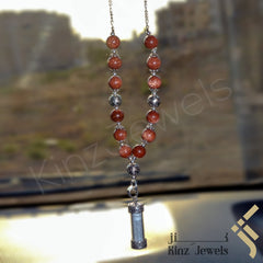 kinzjewels - Kinz Car Mirror Hanging Goldstone Silver Glass Protective Capsule - The Throne Verse