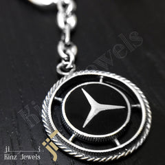 kinzjewels - High Quality Mercedes Sterling Silver Black Keychain