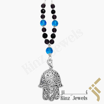 kinzjewels - Kinz Car Mirror Hanging Silver Blue And Purple Hamsa