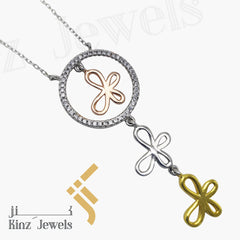 kinzjewels - Sterling Silver Three Butterfly Necklace Gold Vermeil
