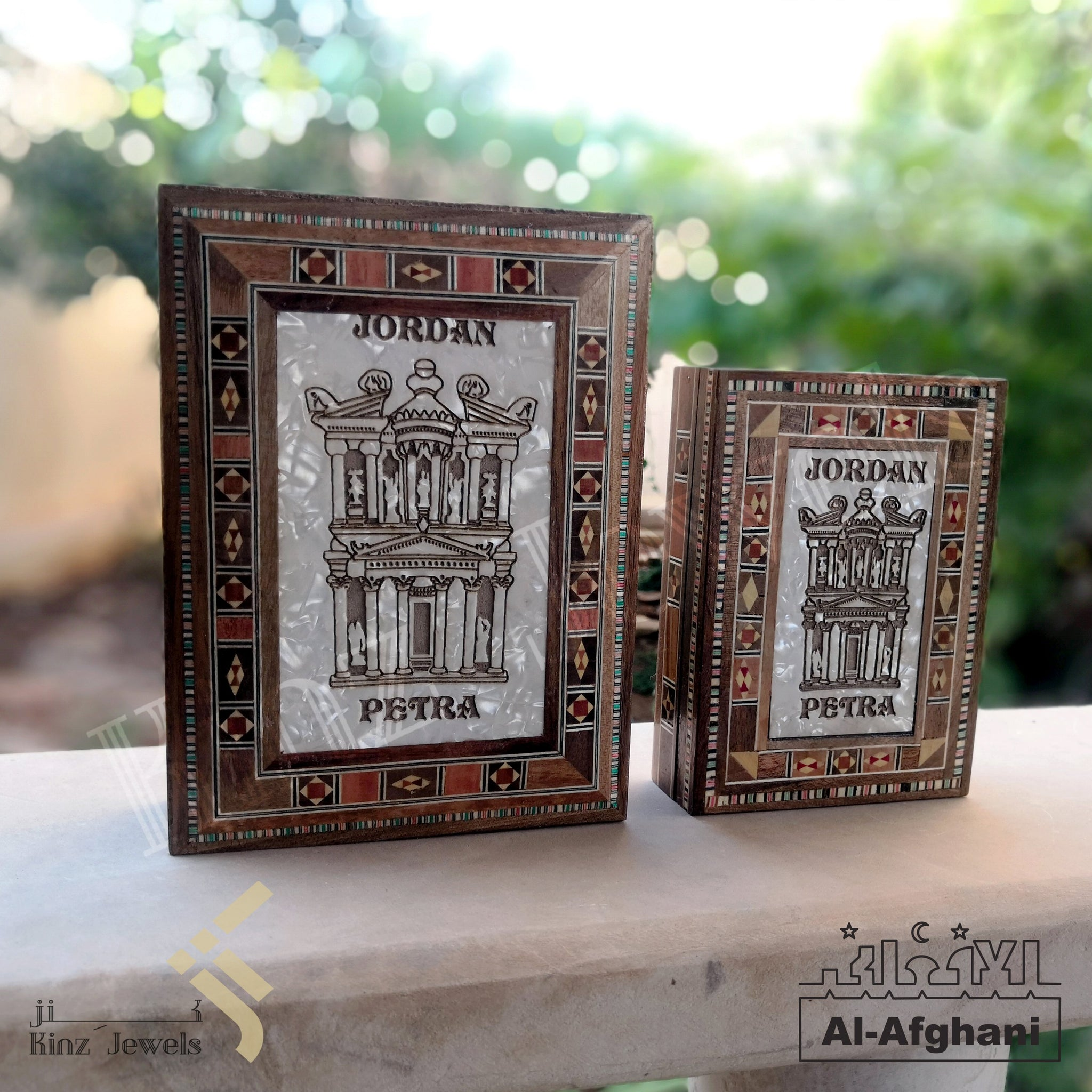 kinzjewels - Afghani - Handcrafted Wooden Arabian Mosaics with Mother Of Pearl Petra Box