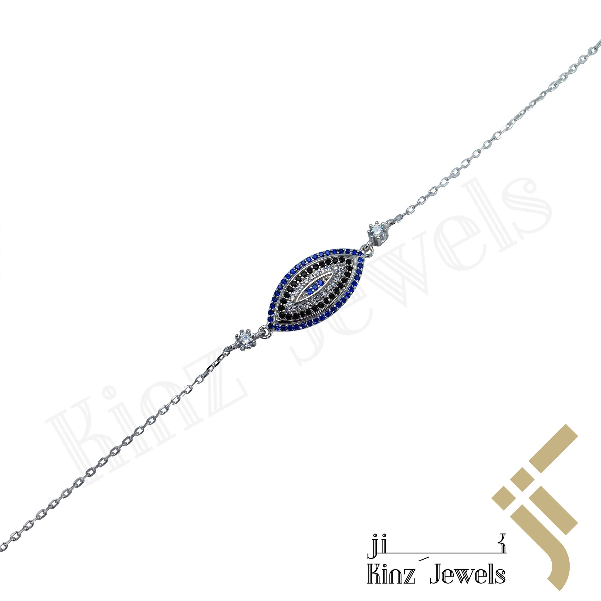 kinzjewels - Sterling Silver Evil Eye Bracelet Blue white Black Zircon Stones