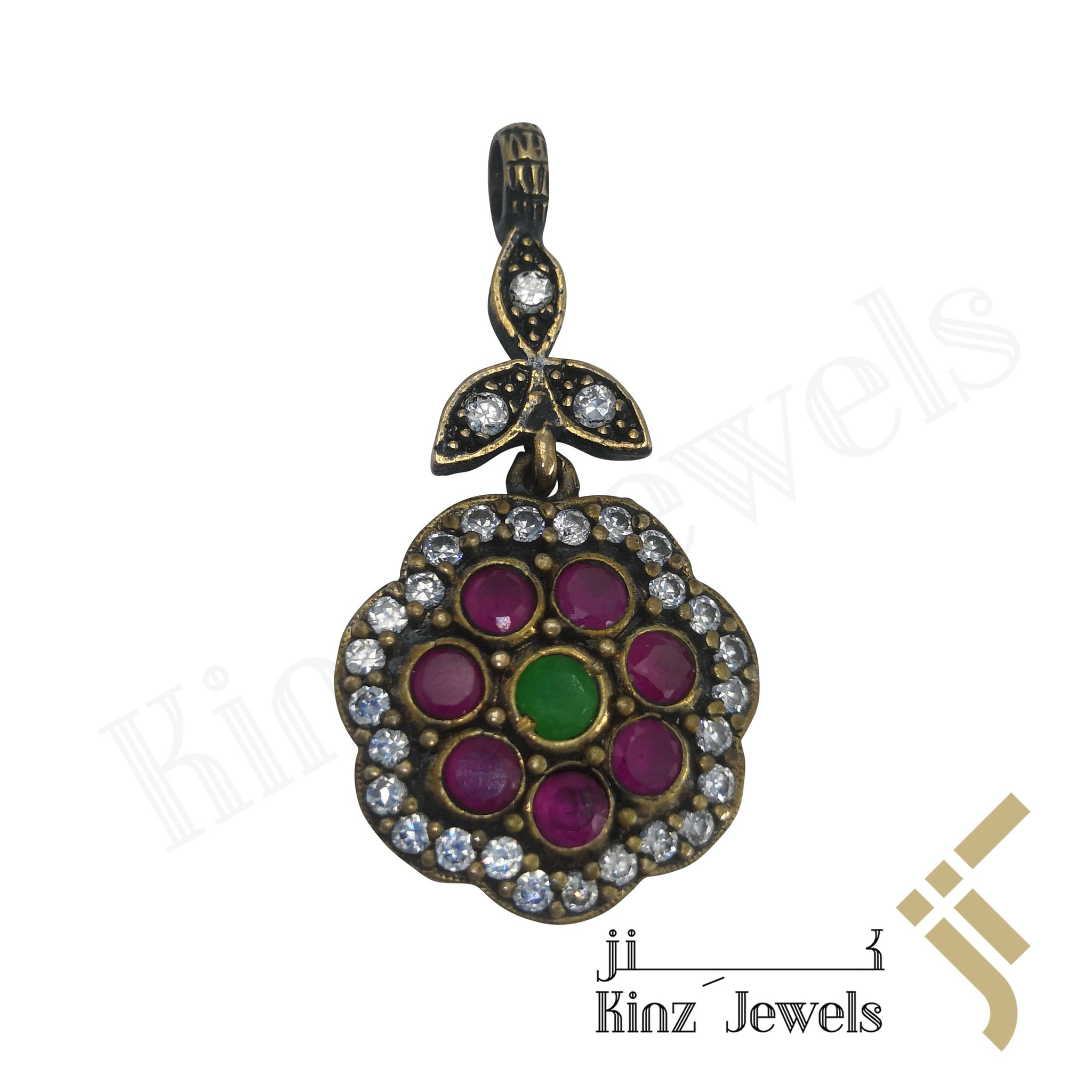kinzjewels - Sterling Silver Hurrem Sultan Flower Gemstones Pendant