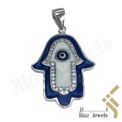 kinzjewels - Sterling Silver Hamsa Evil Eye Enamel Blue and White Zircon Frame Pendant