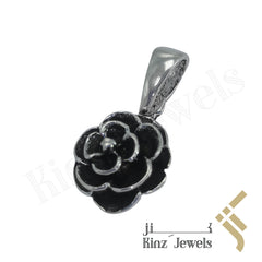 kinzjewels - Sterling Silver Handcrafted Black Rose Pendant
