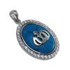 kinzjewels - Sterling Silver Turquoise The Name Of God Pendant Oval - Allah