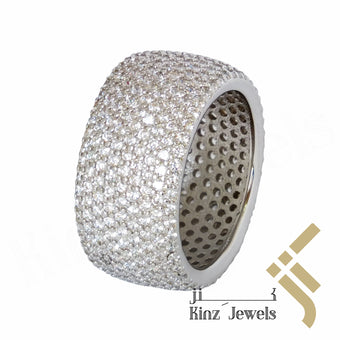 kinzjewels - Sterling Silver Rhodium Vermeil Full Zircon Ring
