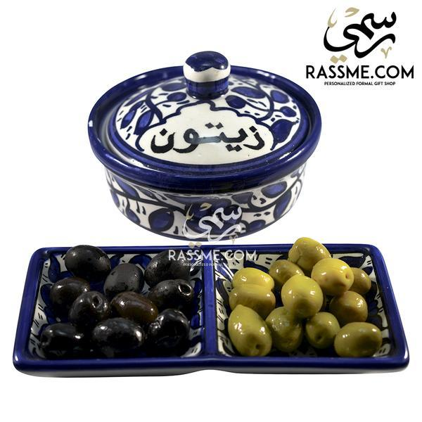 kinzjewels - Rassme - Handmade High Quality Palestinian Floral Ceramic Olive Bowl or  divided Plate