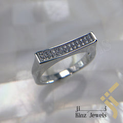 kinzjewels - Sterling Silver Rhodium Vermeil Two ZIrcon Lines Arc Ring