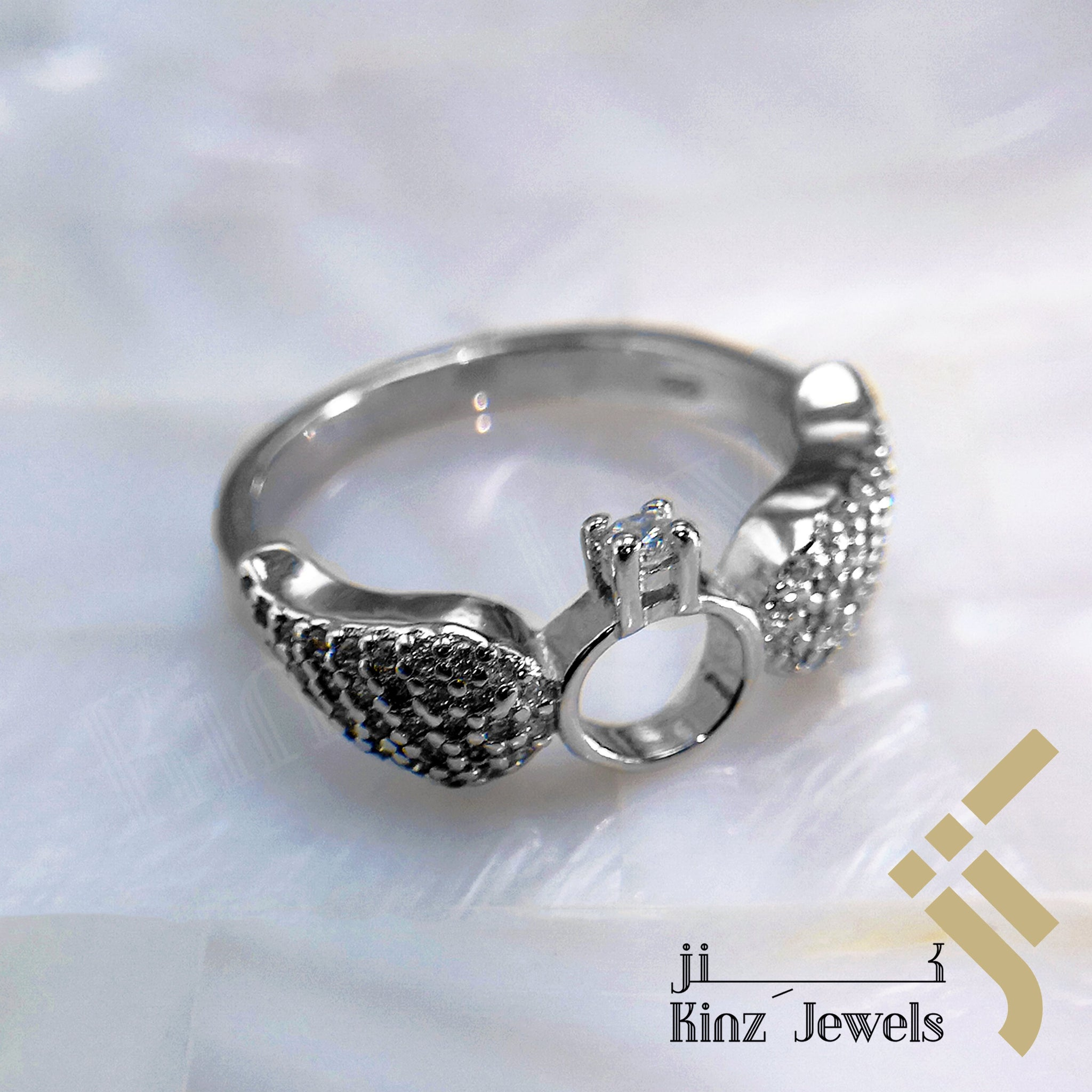 kinzjewels - Sterling Silver Rhodium Vermeil Angle Wings Love Ring