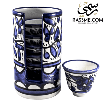kinzjewels - Rassme - Handmade High Quality Palestinian Floral Ceramic Coffee Cups Set