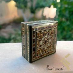 kinzjewels - Handcrafted Brown Mosaics with Mother Of Pearl Box