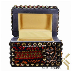 kinzjewels - Handcrafted Sadu Wooden Brass Pins Wool Arabian Jewelry Box
