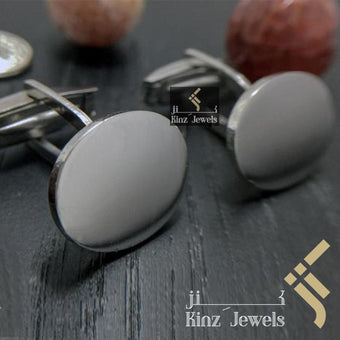 kinzjewels - Personalized Sterling Silver Italian Cufflinks Oval - Arabic or English
