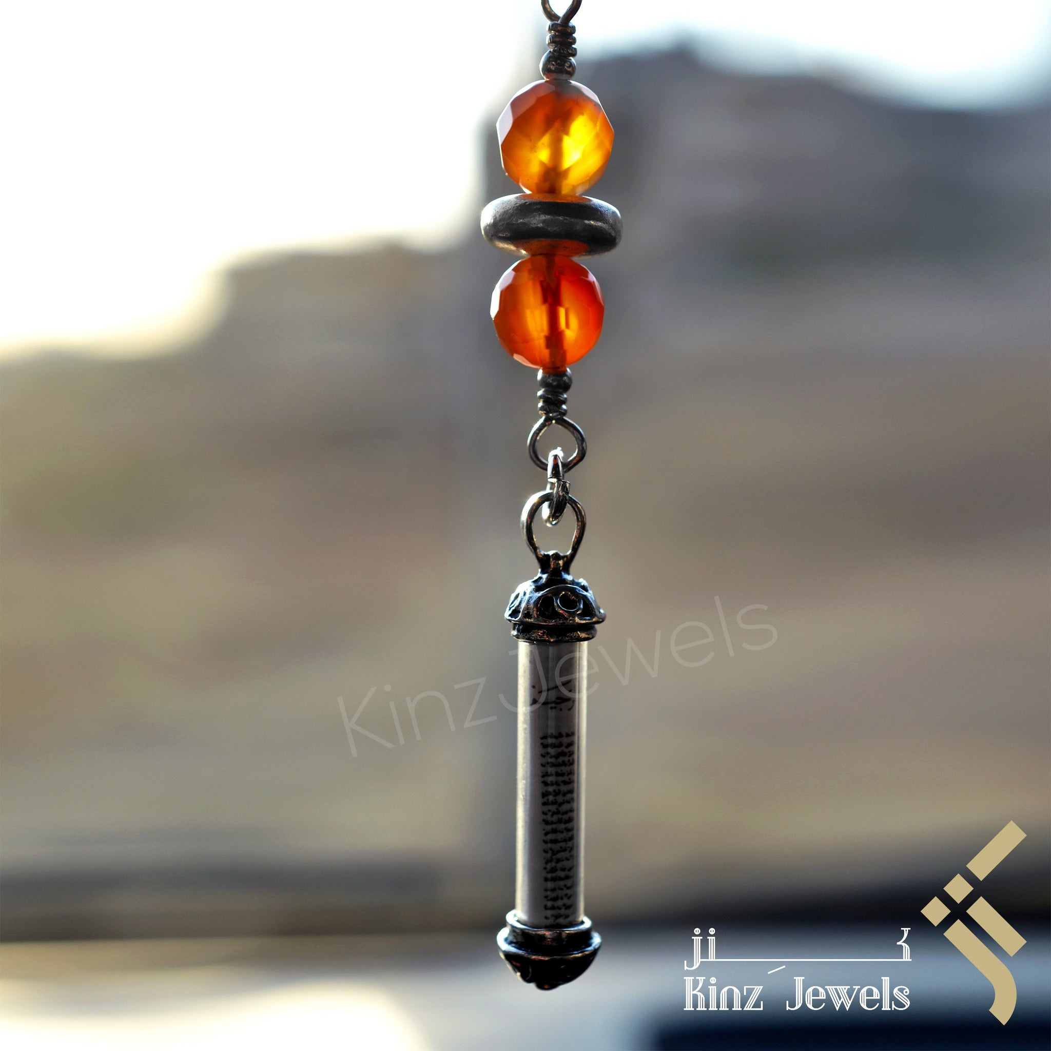kinzjewels - Kinz Car Mirror Hanging Agate Silver Glass Protective Capsule - The Throne Verse