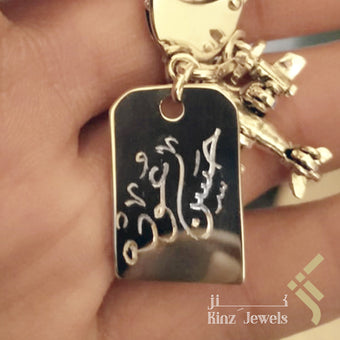 kinzjewels - Personalized Silver Tag Pendant Simple Rhodium Vermeil