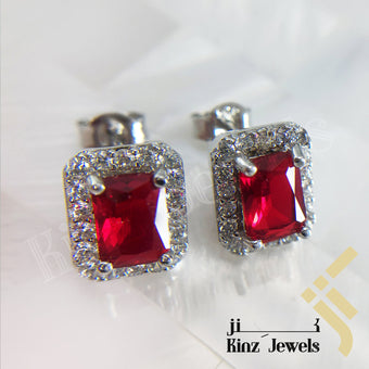 kinzjewels - Sterling Silver Rhodium Vermeil Red Zircon Frame Earring