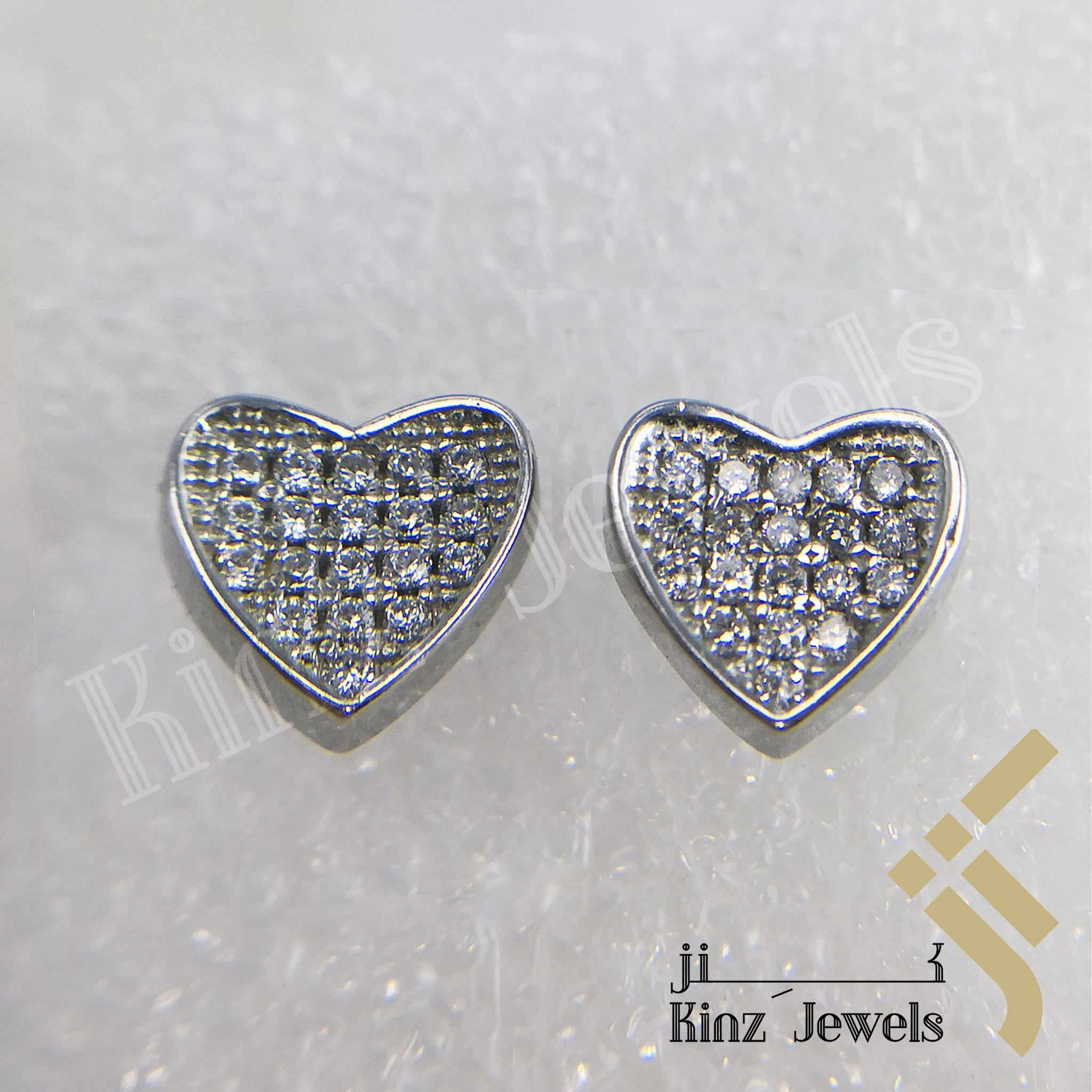 kinzjewels - Sterling Silver Rhodium Vermeil Heart Full Zircon Frame Earring