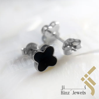 kinzjewels - Sterling Silver Rhodium Vermeil Black Van Cleef Inspired Earring