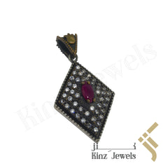 kinzjewels - Sterling Silver Hurrem Sultan Diamond Shape Gemstones Pendant