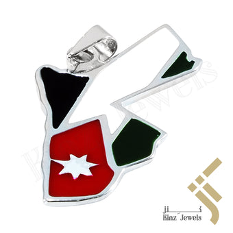 kinzjewels - Personalized Sterling Silver Jordan Map & Flag Pendant Genuine Enamel