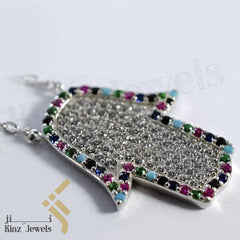 kinzjewels - Sterling Silver Hamsa Multi Gemstones And Cubic Zircon Necklace