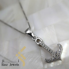 kinzjewels - Sterling Silver Anchor Zircon Necklace
