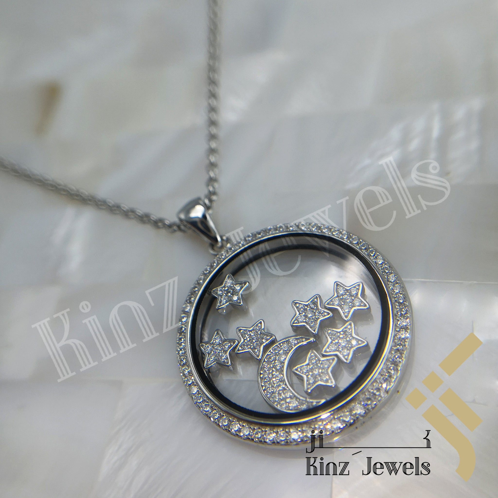 kinzjewels - Personalized Glass Sterling Silver Floating Stars & Moon Crescent