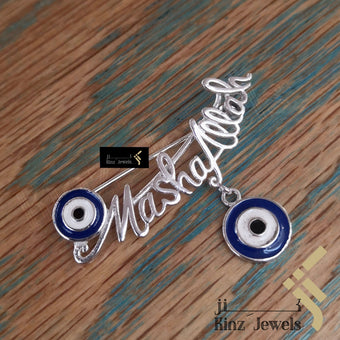 kinzjewels - Sterling Silver Rhodium Vermeil Blue Eye Pin Brooch For Baby - Mashallah