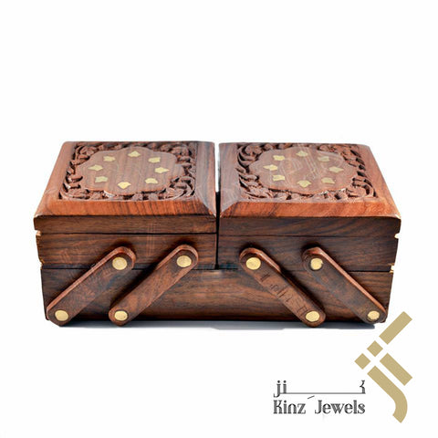 kinzjewels - Wooden With Brass Velvet Jewelry Box