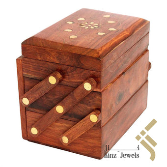kinzjewels - Wooden With Brass Velvet Jewelry Box Stairs