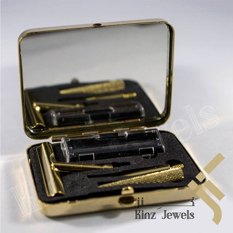 kinzjewels - Personalized Shaving Set Solid Brass With Mirror and Razor