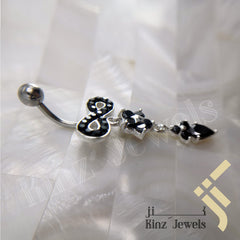 kinzjewels - Sterling Silver Rhodium Vermeil Black Flower Infinity Navel Piercing