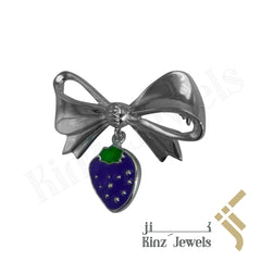 kinzjewels - Sterling Silver Pin Brooch Purple Strawberry For Baby