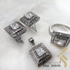 kinzjewels - Sterling Silver Rhodium Vermeil Fine Cut Inception Square Zircon Jewelry Set
