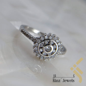kinzjewels - Sterling Silver Rhodium Zircon Vermeil Flower Inside Sun Ring